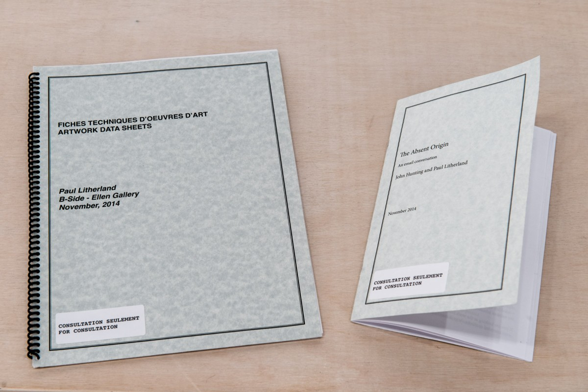 Documents accompanying the exhibition of B-Side Ellen Gallery. Left: Artwork Data Sheet, Right: Email conversation with John Hunting., 2014