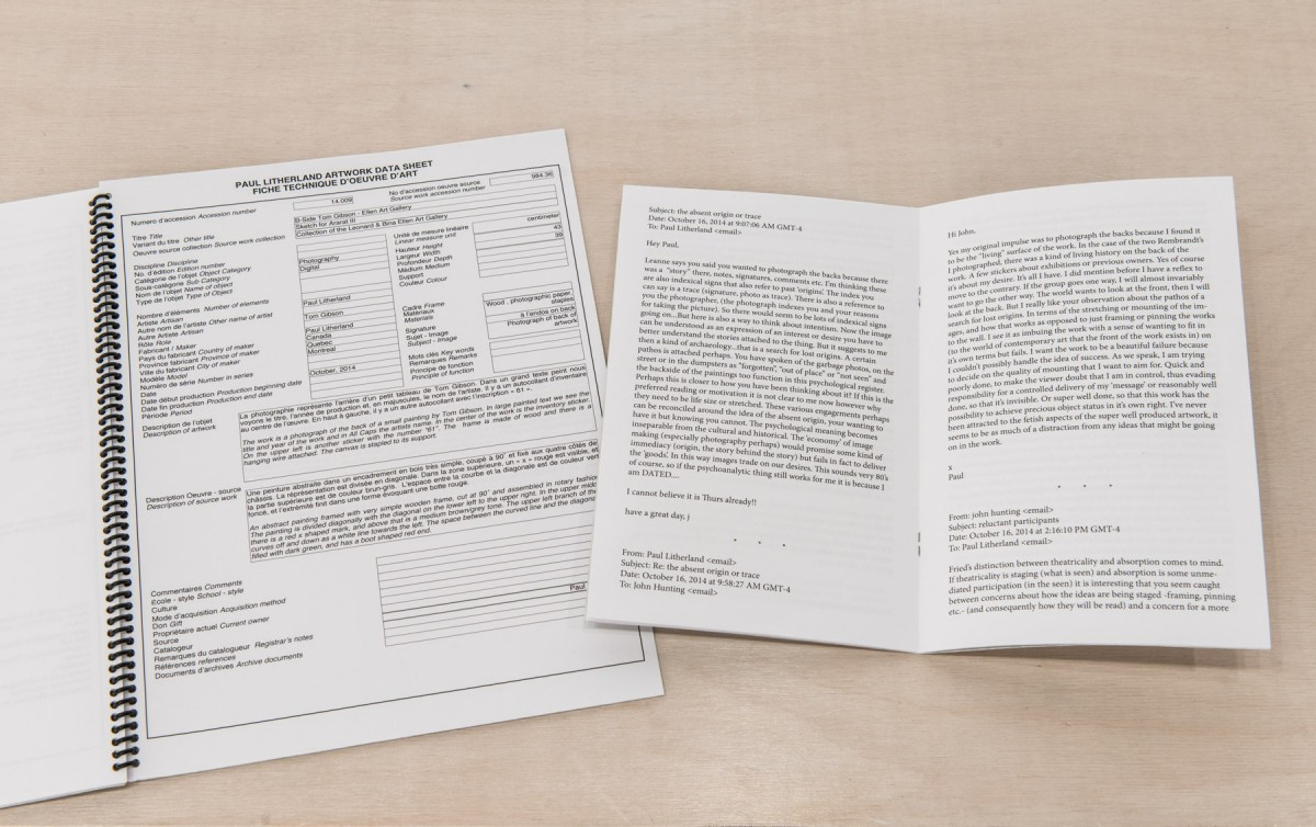 B-side - Ellen Gallery, 2014 –  													Supporting documents for B-Side Ellen Gallery  Left: Artwork Data sheet, right: conversation between John Hunting and Paul Litherland