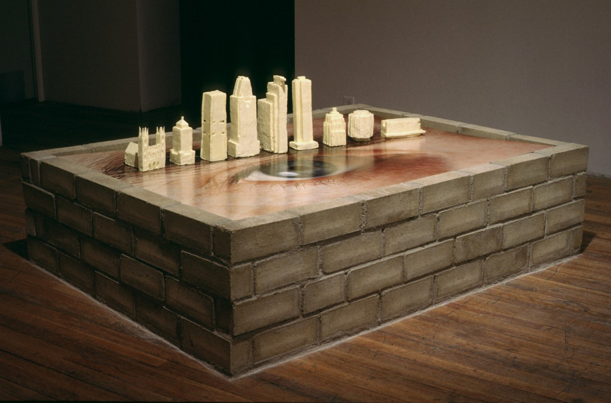 Body Building, 1997 –  													Installation view early in the exhibition, butter buildings standing