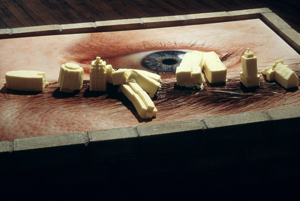 Body Building, 1997 –  													Detail, later in the exhibition, butter buildings melting