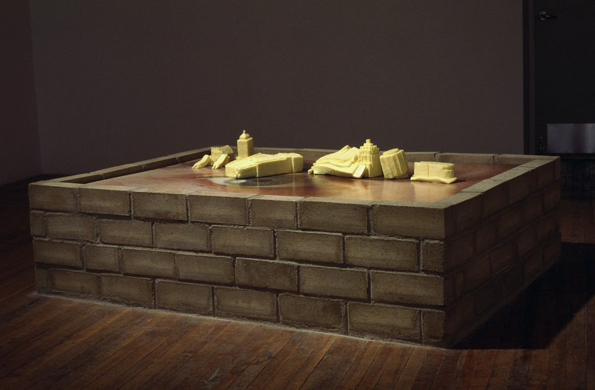 Body Building, 1997 –  													installation view later in the exhibition, butter buildings melting