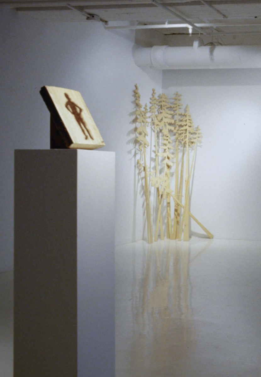SJPJ Sculptures, 1994 –  													Angle mort installation view with Clear Cut, 1996