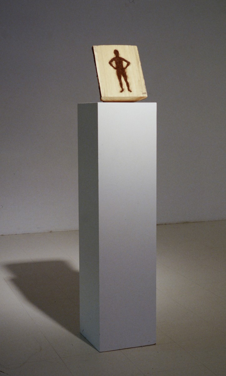 SJPJ Sculptures, 1994 –  													Angle mort installation view, with Hairy Man, 1996