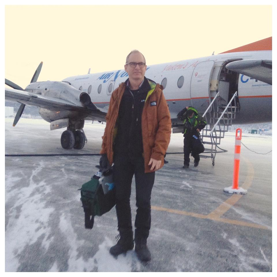 Paul Litherland arriving at the Dawson City airport, February 2016