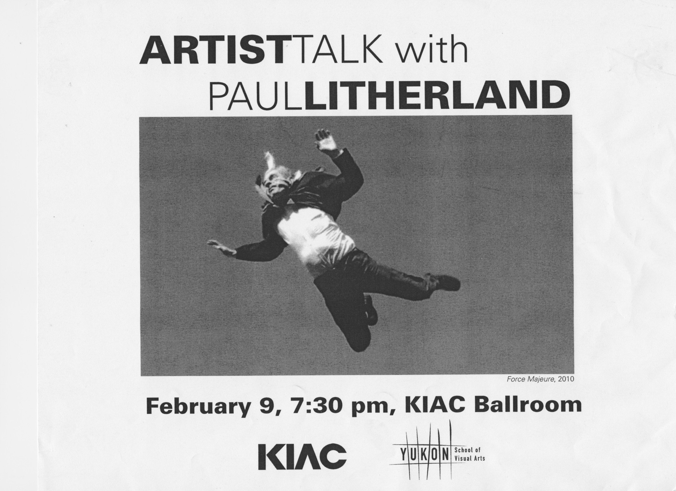 Poster for Paul Litherland artist talk, KIAC, 2016