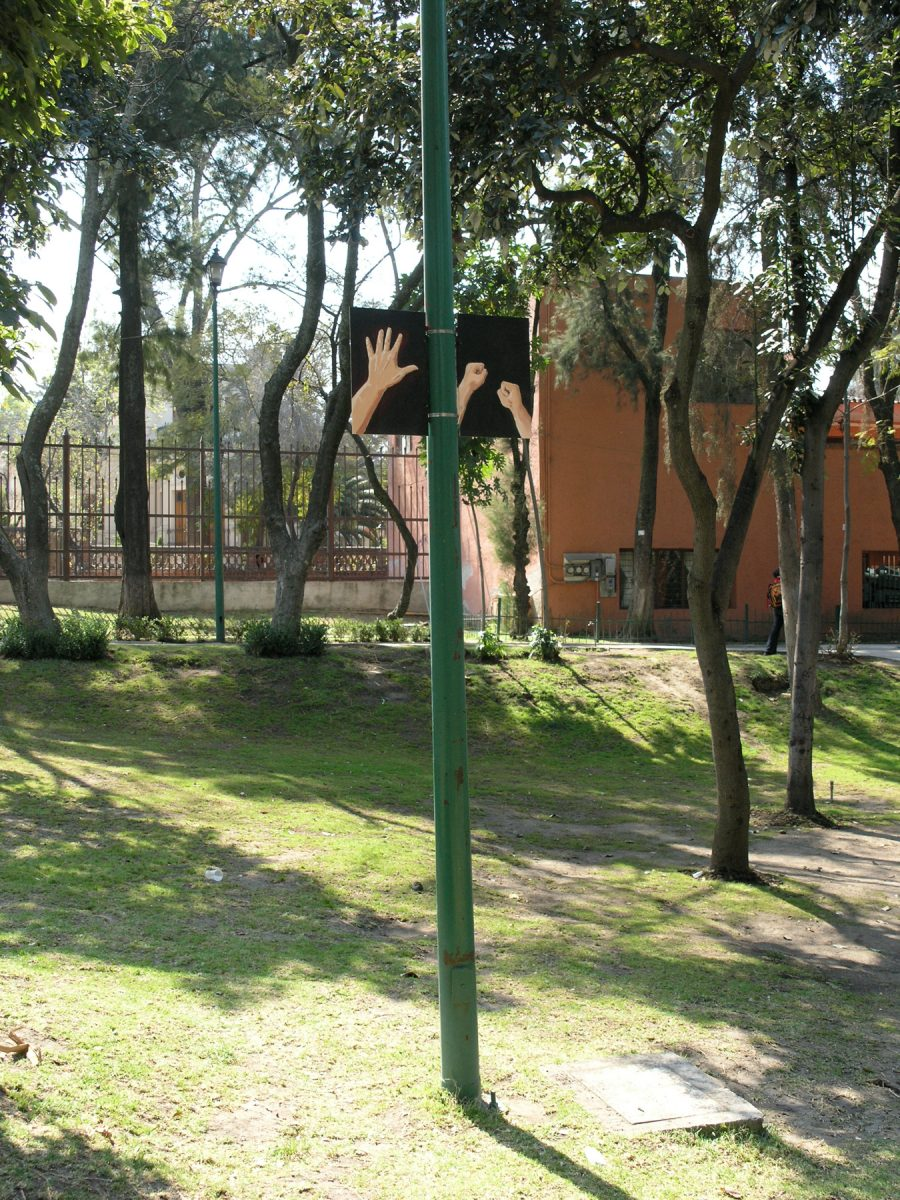 Hands Ears, 2006 –  													Defensive/Offensive, installation view, Hands Ears, Parque de Tlalpan, 2006