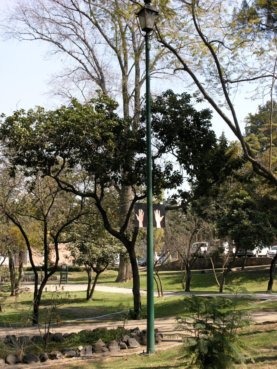 Hands Ears, 2006 –  													Installation view, Hands Ears, Parque de Tlalpan, 2006