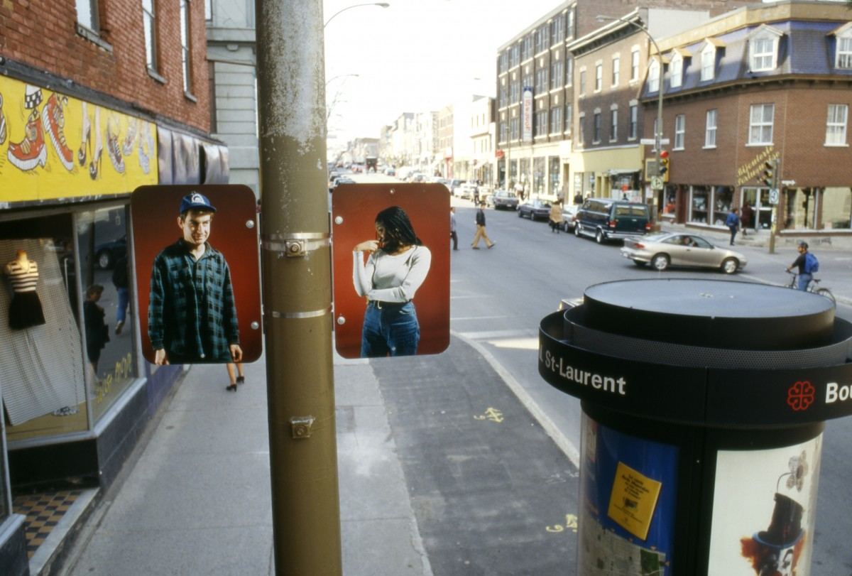 Hésitation, 1996 –  													Installation view of diptych 'Class Race', lamp posts on boul. Saint-Laurent