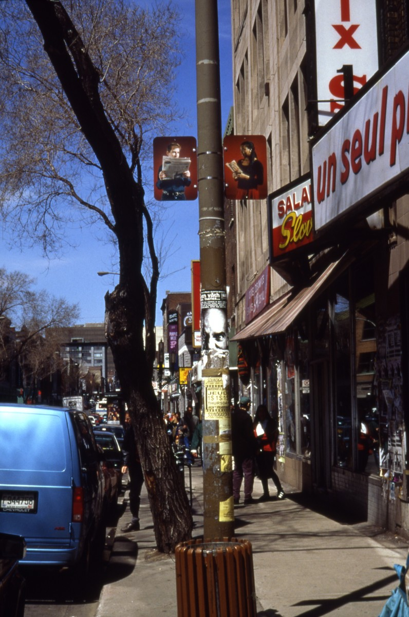 """Hésitation"" from <i>Hésitation</i>, 1996 –  										 – Installation view of diptych 'Orlando', lamp posts on boul. Saint-Laurent"