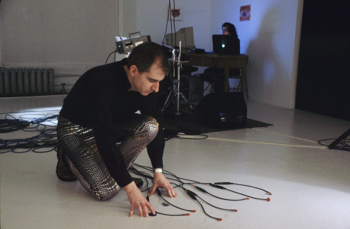 Babble, 2001 –  													Paul Litherland, Alexander MacSween and Jean-Philippe Thibault in the performance of Babble, 2001.