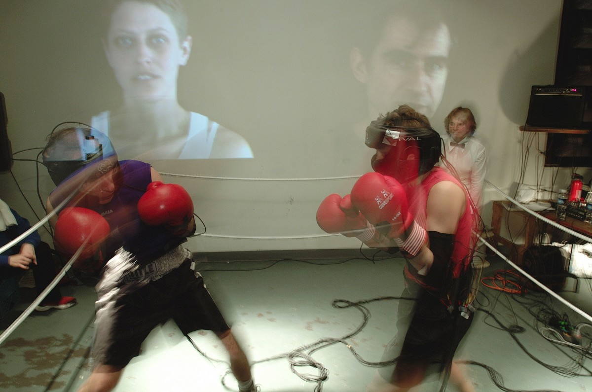 """ASCII Fighter (BOX) "" from <i></i>, 2004 –  										 – View of Sorry clips from Video Fighter section of BOX performed at Le Locale, Montreal"