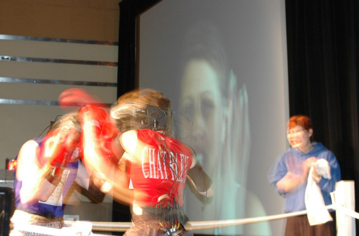 ASCII Fighter (BOX), 2004 –  													View of Sorry clips from Video Fighter section performed at Digifest, Toronto, 2004