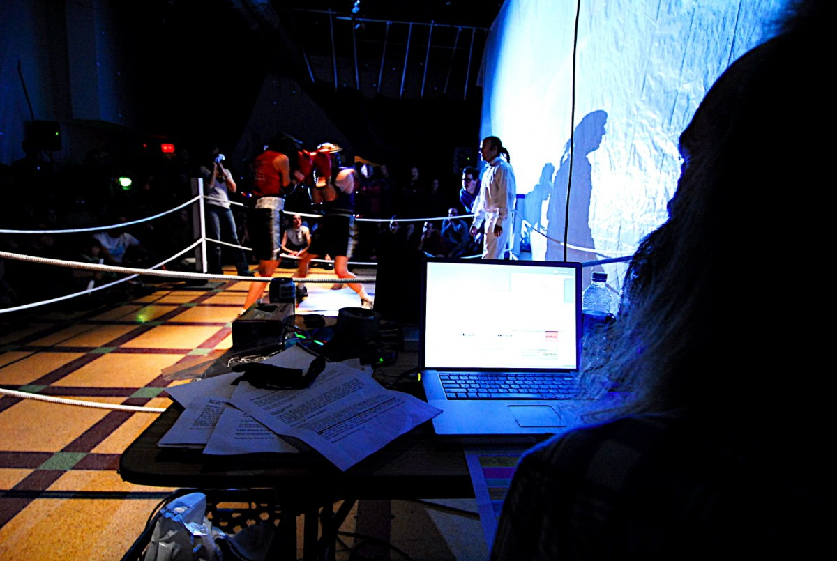 ASCII Fighter (BOX), 2004 –  													View of computer controls, for BOX performance, Quebec City, 2006