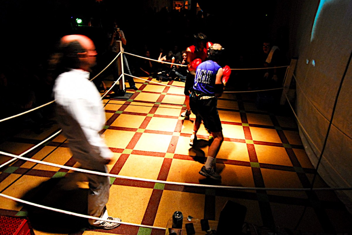 ASCII Fighter (BOX), 2004 –  													From the 2006 Performance of Box at Rencontre Internationale D'art Performance