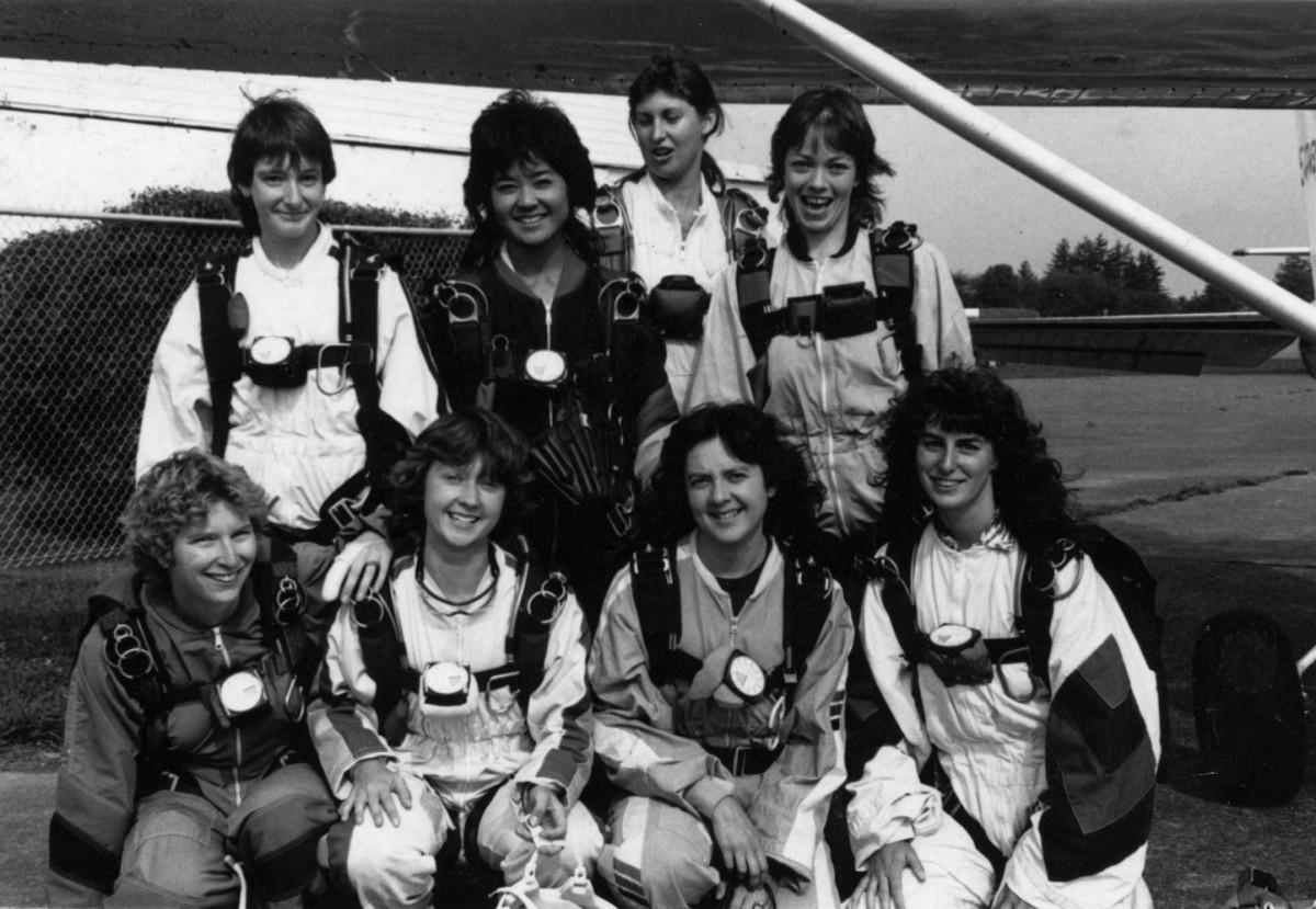 <i>BC women skydiving in the 1980s</i> – BC women's skydiving record, Chilliwack BC ca 1985. back L - R ; Donna V, Dorothy Higa, June Dickson, Ellen Bell front L - R ; Leslie Javorski, Patricia Connolly, Mary Connolly, Dawn Menard											, 2015 											<a href=' https://paullitherland.com/artsite_wp/wp-content/uploads/198XBCwomenskydiving-1200x829.jpg' target='_blank'><img src='https://paullitherland.com/artsite_wp/wp-content/themes/artpress-child/img/artworkDownloadImg.png' title='télécharger image / download image' /></a>  																						<!-- <a href='' target='_blank'>  											<img src='/img/artworkPermalinkIcon.png' title='permalink to photo' /></a> -->