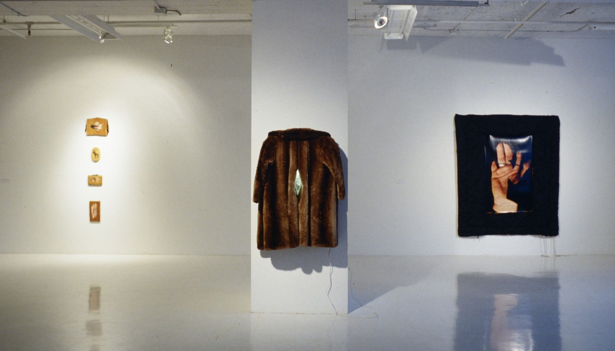 """Saint Jean Port Joli Sculptures"" from <i></i>, 1994 –  										 – Angle mort installation view with All Natural, Beaver Nipple and untitled work from the Body Contact series - 1996"