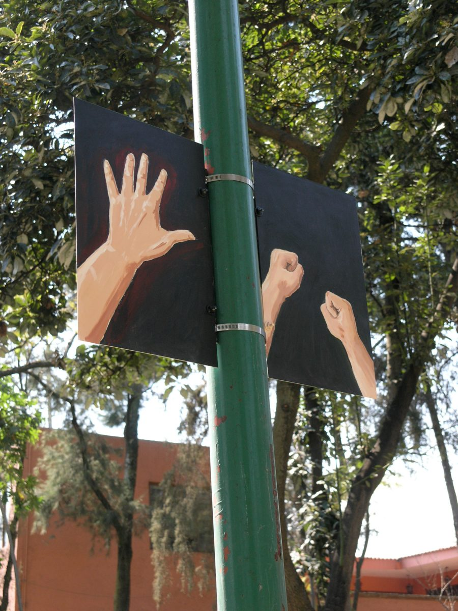 """Hands Ears"" from <i></i>, 2006 –  										 – Installation view at Parque de Tlalpan, Mexico City"