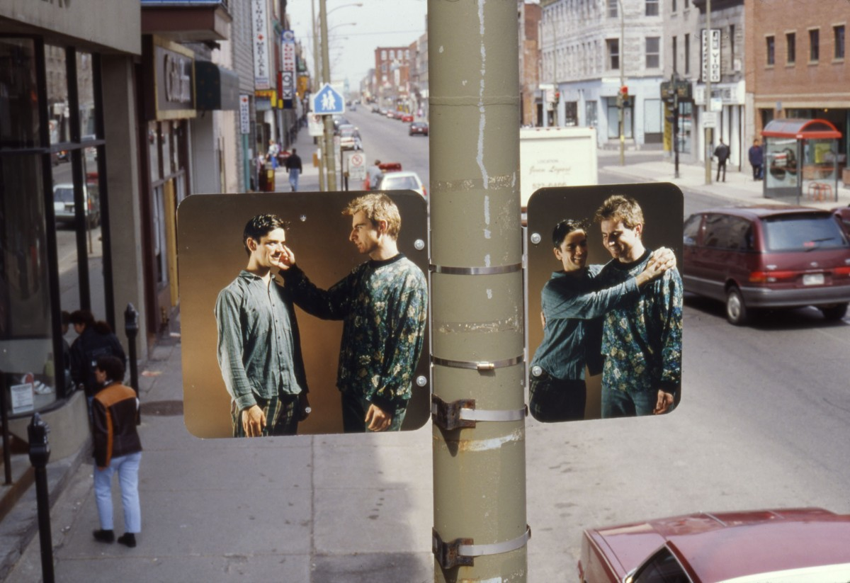 """Hésitation"" from <i></i>, 1996 –  										 – Installation view of diptych 'Straight Fear', lamp posts on boul. Saint-Laurent"