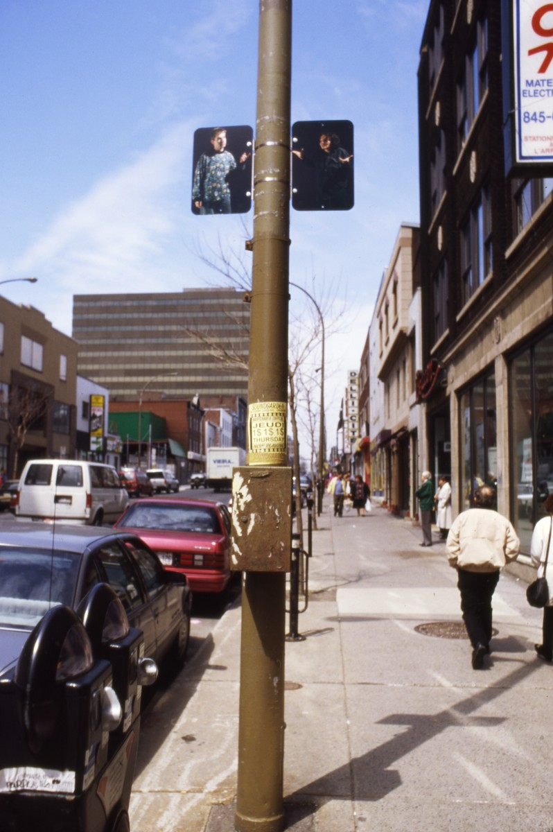 """Hésitation"" from <i></i>, 1996 –  										 – Installation view of diptych 'Male Female Arguing', lamp posts on boul. Saint-Laurent"